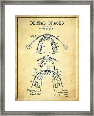Dental Braces Patent From 1907 - Vintage Framed Print by Aged Pixel