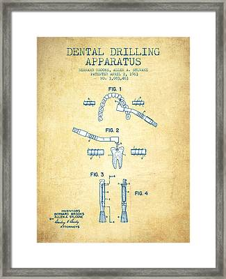 Dental Drilling Apparatus Patent From 1963 - Vintage Paper Framed Print by Aged Pixel