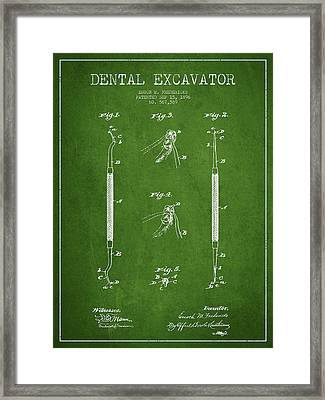 Dental Excavator Patent Drawing From 1896 - Green Framed Print by Aged Pixel