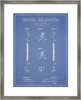 Dental Excavator Patent Drawing From 1896 - Light Blue Framed Print by Aged Pixel