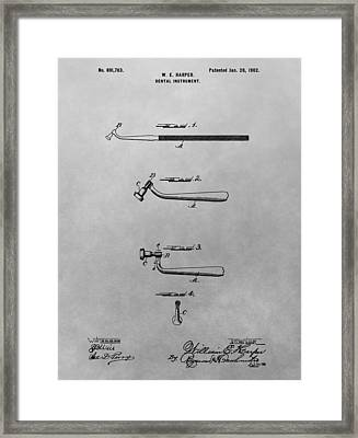 Dental Instrument Patent Drawing Framed Print by Dan Sproul