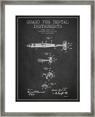Dental Instruments Patent From 1912 - Dark Framed Print by Aged Pixel