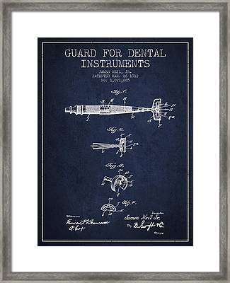 Dental Instruments Patent From 1912 - Navy Blue Framed Print by Aged Pixel