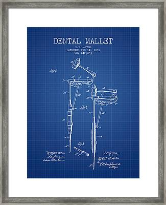 Dental Mallet Patent From 1881 - Blueprint Framed Print by Aged Pixel