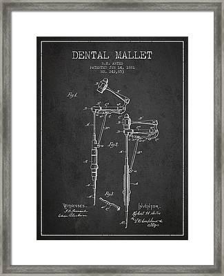 Dental Mallet Patent From 1881 - Charcoal Framed Print by Aged Pixel