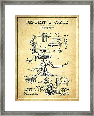 Dentist Chair Patent Drawing From 1892 - Vintage Framed Print by Aged Pixel