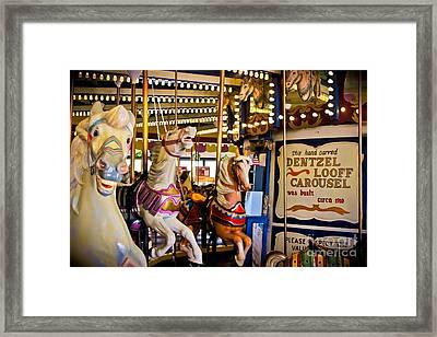 Dentzel Looff Antique Carousel  Framed Print by Colleen Kammerer