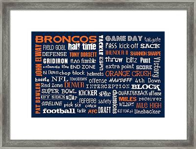 Denver Broncos Framed Print by Jaime Friedman