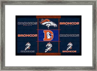Denver Broncos Uniform Patches Framed Print by Joe Hamilton