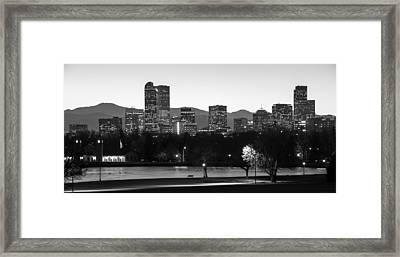 Denver Colorado Skyline And Mountains Panorama Framed Print by Gregory Ballos