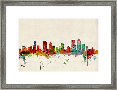 Denver Colorado Skyline Framed Print by Michael Tompsett