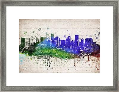 Denver In Color Framed Print by Aged Pixel