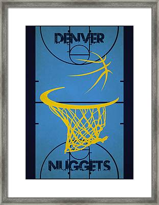 Denver Nuggets Court Framed Print by Joe Hamilton