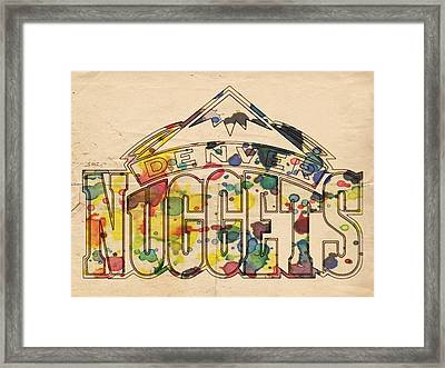 Denver Nuggets Poster Art Framed Print by Florian Rodarte