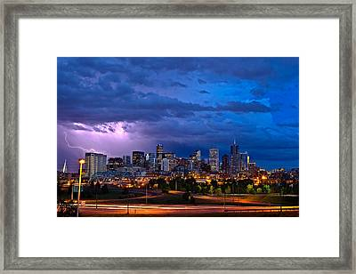 Denver Skyline Framed Print by John K Sampson