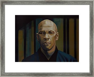 Denzel Washington In The Equalizer Painting Framed Print by Paul Meijering