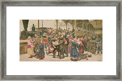 Departing For The War, 1888 Framed Print by Konstantin Apollonovich Savitsky