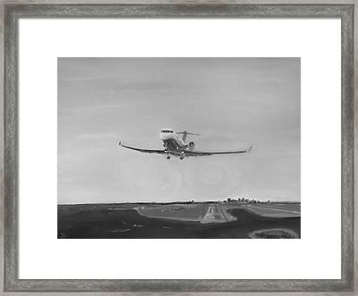 Departing Runway Nine Boston Framed Print by Jon Castillo