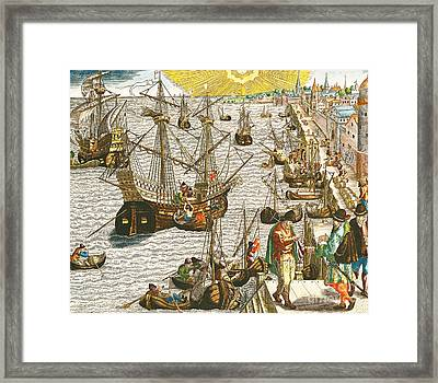 Departure From Lisbon For Brazil Framed Print by Theodore de Bry