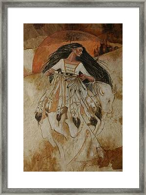 Departure Of White Buffalo Woman Framed Print by Pamela Mccabe