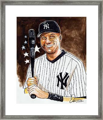 Derek Jeter 2014 All Star Game Framed Print by Dave Olsen