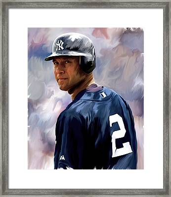 Derek Jeter  Framed Print by Iconic Images Art Gallery David Pucciarelli