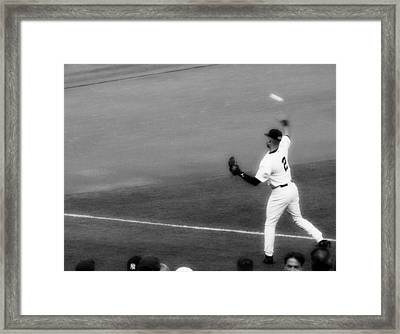 Derek Jeter Warming Up Before A Game - Full Black And White Framed Print by Aurelio Zucco
