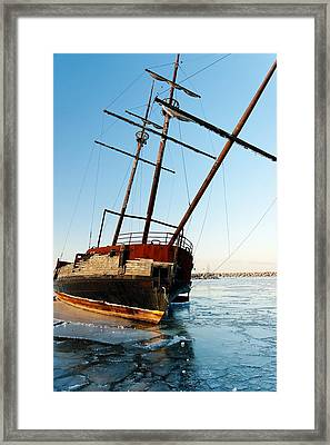 Derelict Faux Tall Ship Framed Print by Trever Miller
