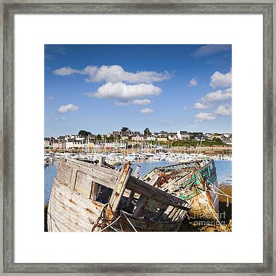 Derelict Fishing Boats Camaret Sur Mer Brittany Framed Print by Colin and Linda McKie