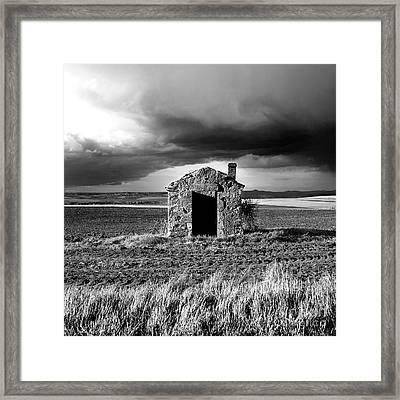 Derelict Stone Shed In  Auvergne. France Framed Print by Bernard Jaubert
