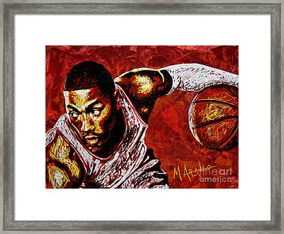 Derrick Rose Framed Print by Maria Arango