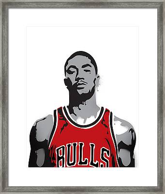 Derrick Rose Framed Print by Mike Maher