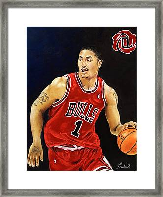 Derrick Rose Pastel Portrait - Chicago Bulls Framed Print by Prashant Shah