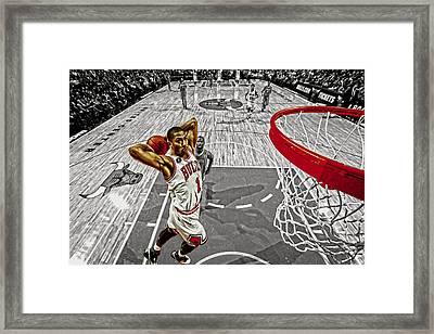 Derrick Rose Took Flight Framed Print by Brian Reaves
