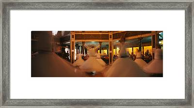 Dervishes Dancing At A Ceremony Framed Print by Panoramic Images