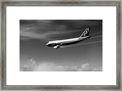 Descending - Boeing 747 Framed Print by Marcello Cicchini
