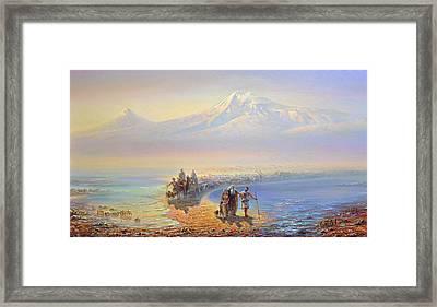 Descent Of Noah From Mountain Ararat Framed Print by Meruzhan Khachatryan