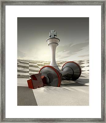 Desert Chess Defeat Framed Print by Allan Swart