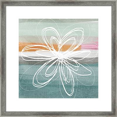 Desert Flower- Contemporary Abstract Flower Painting Framed Print by Linda Woods
