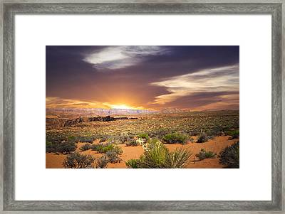 An Evening In The Desert Framed Print by Aged Pixel
