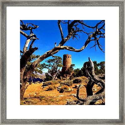 Desertview Watchtower Grand Canyon Framed Print by Bob and Nadine Johnston