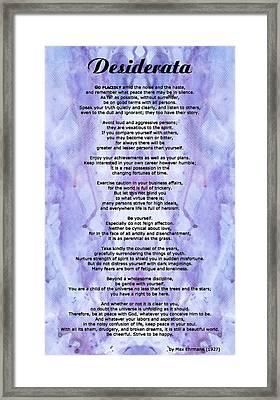 Desiderata 3 - Words Of Wisdom Framed Print by Sharon Cummings