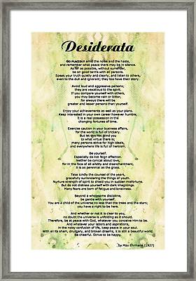 Desiderata 5 - Words Of Wisdom Framed Print by Sharon Cummings