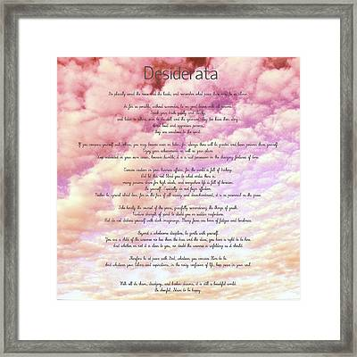 Desiderata - Cotton Candy Sky Framed Print by Marianna Mills