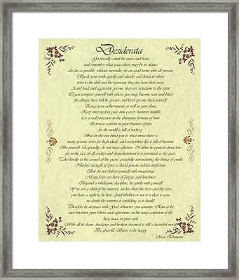 Desiderata Gold Bond Scrolled Framed Print by Movie Poster Prints