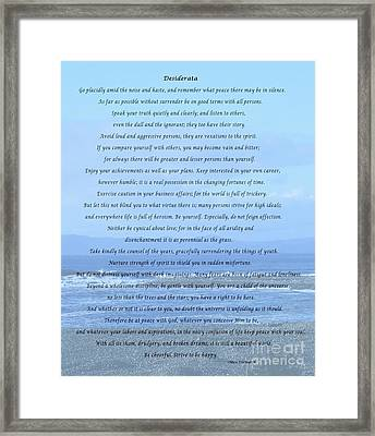 Desiderata On Beach And Ocean Scene Framed Print by Barbara Griffin