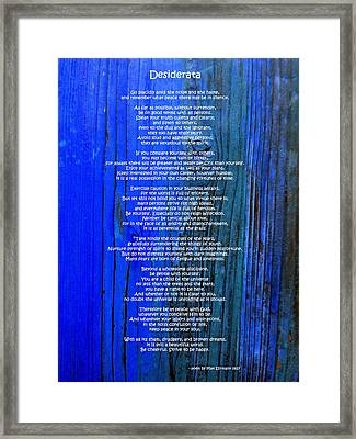 Desiderata On Blue Framed Print by Leena Pekkalainen