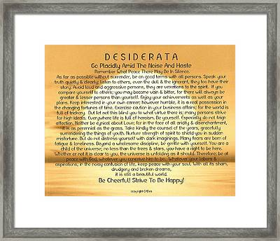 Desiderata Poem On Golden Sunset Framed Print by Desiderata Gallery