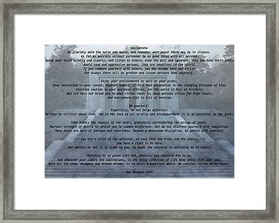 Desiderata Stairs Framed Print by Dan Sproul