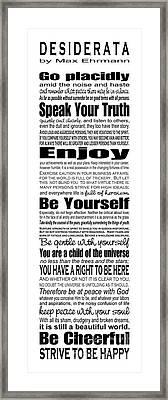 Desiderata - Subway Style Framed Print by Ginny Gaura